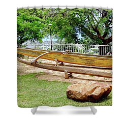 Hawaiian Canoe At Lahainaluna High School Shower Curtain