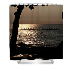 Hawaiian Dugout Canoe Race At Sunset Shower Curtain
