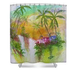 Hawaiian Homestead In The Valley #460 Shower Curtain by Donald k Hall