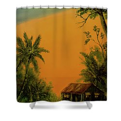Hawaiian Homestead Sunset #05 Shower Curtain by Donald k Hall