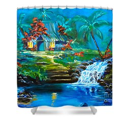 Shower Curtain featuring the painting Hawaiian Hut And Waterfalls by Jenny Lee