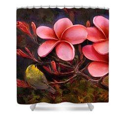 Shower Curtain featuring the painting Hawaiian Pink Plumeria And Amakihi Bird by Karen Whitworth