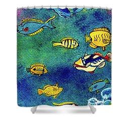 Hawaiian Reef  Fish #223 Shower Curtain by Donald k Hall