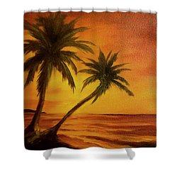 Hawaiian Sunset #380 Shower Curtain by Donald k Hall
