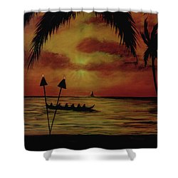 Hawaiian Sunset Paddlers #283 Shower Curtain by Donald k Hall