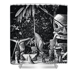 Shower Curtain featuring the photograph Hawaiian Tiki Carvings by Sharon Mau
