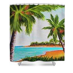Hawaiian Tropical Beach #429 Shower Curtain by Donald k Hall