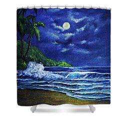 Hawaiian Tropical Ocean Moonscape Seascape #377 Shower Curtain by Donald k Hall