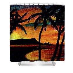 Hawaiian Waikiki Sunrise Over Diamond Head  #266 Shower Curtain by Donald k Hall