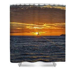 Shower Curtain featuring the photograph Hawaiian Winter Sunset by Mitch Shindelbower
