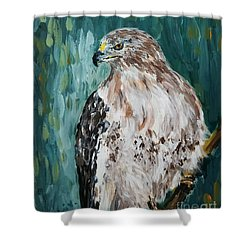 Shower Curtain featuring the painting Hawk by Maria Langgle