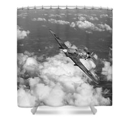 Shower Curtain featuring the photograph Hawker Hurricane IIb Of 174 Squadron Bw Version by Gary Eason
