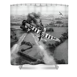 Shower Curtain featuring the photograph Hawker Typhoon Rocket Attack Bw Version by Gary Eason