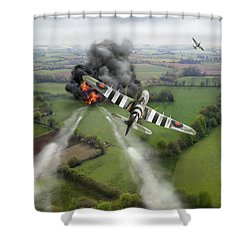 Shower Curtain featuring the photograph Hawker Typhoon Rocket Attack by Gary Eason