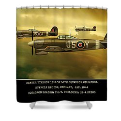 Shower Curtain featuring the digital art Hawker Typhoon Sqn 56 by John Wills