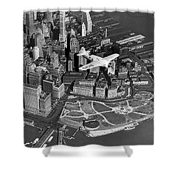 Hawk's Plane Over Battery Park Shower Curtain by Underwood Archives