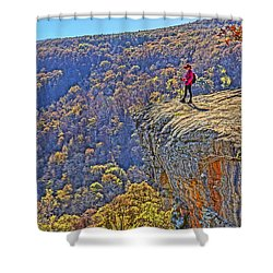 Hawksbill Crag Hiker Shower Curtain by Dennis Cox WorldViews