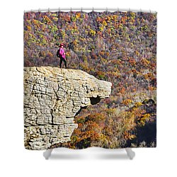 Hawksbill Crag In Autumn Shower Curtain by Dennis Cox WorldViews