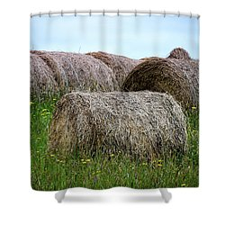 Hay Bales Among The Wildflowrs Shower Curtain