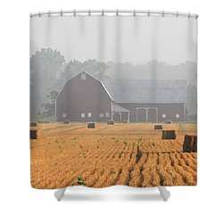 Hay Bales And Red Barn At Sunrise Shower Curtain by Jack Schultz
