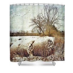 Hay Bales In Snow Shower Curtain