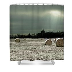 Hay Bales In The Snow Shower Curtain by Judy Johnson