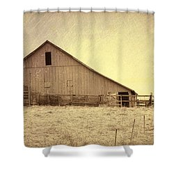 Hay Barn Shower Curtain by Susan Crossman Buscho