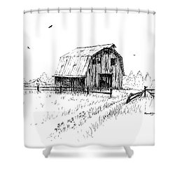 Hay Barn With Broken Gate Shower Curtain