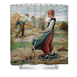 Hay Field Workers Shower Curtain