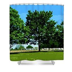 Hay Harvest Shower Curtain by Spyder Webb