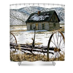 Hay Rake At Butch Cassidy Shower Curtain by Nelson and Cheryl Strong