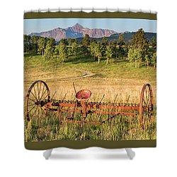 Hay Rake In Morning Sun Shower Curtain