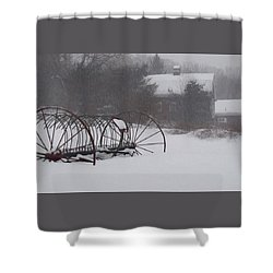 Hay Rake In The Snow Shower Curtain