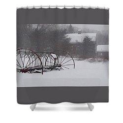 Hay Rake In The Snow Shower Curtain by Joy Nichols