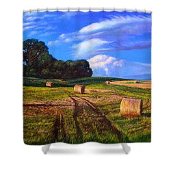 Hay Rolls On The Farm By Christopher Shellhammer Shower Curtain
