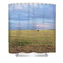 Haybales With Violet Sky Shower Curtain by Susan Williams