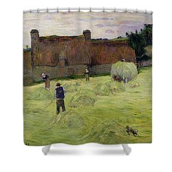 Haymaking In Brittany Shower Curtain by Paul Gauguin