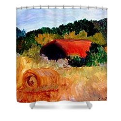 Shower Curtain featuring the painting Hayrolls by Gail Kirtz