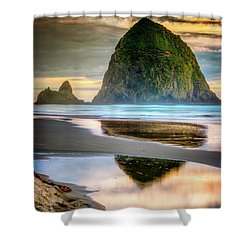 Haystack At Sunset Shower Curtain