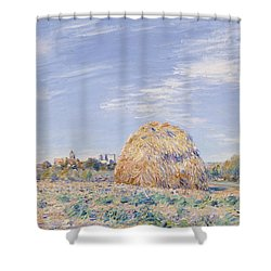 Haystack On The Banks Of The Loing Shower Curtain by Alfred Sisley