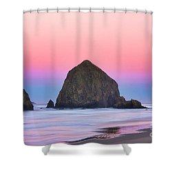 Haystack Rock At Dawn Shower Curtain