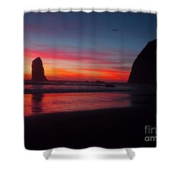 Haystack Rock At Sunset 2 Shower Curtain