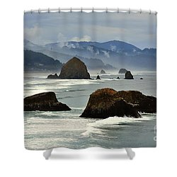 Haystack Rock-cannon Beach Shower Curtain by Scott Cameron