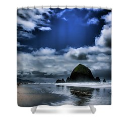 Haystack Rock Shower Curtain by David Patterson