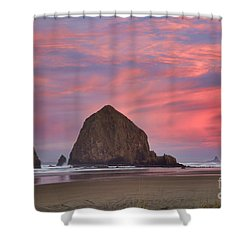 Haystack Rock- First Light Shower Curtain