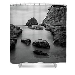 Haystack Rock In Bw Shower Curtain