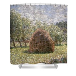 Haystacks At Giverny Shower Curtain by Claude Monet