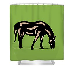 Hazel - Pop Art Horse - Black, Hazelnut, Greenery Shower Curtain