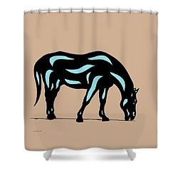 Hazel - Pop Art Horse - Black, Island Paradise Blue, Hazelnut Shower Curtain