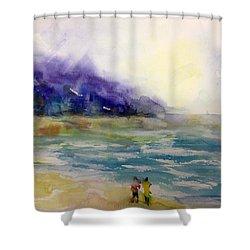 Hazy Beach Scene Shower Curtain